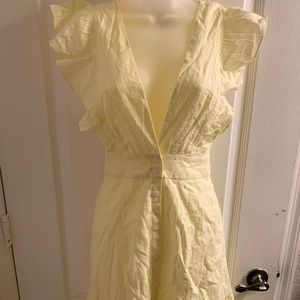 Canary yellow deep V, tie back dress